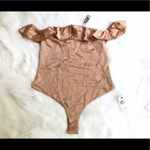 For Love And Lemons Pants - Virgo Ruffle Silky Body Suit in Champagne